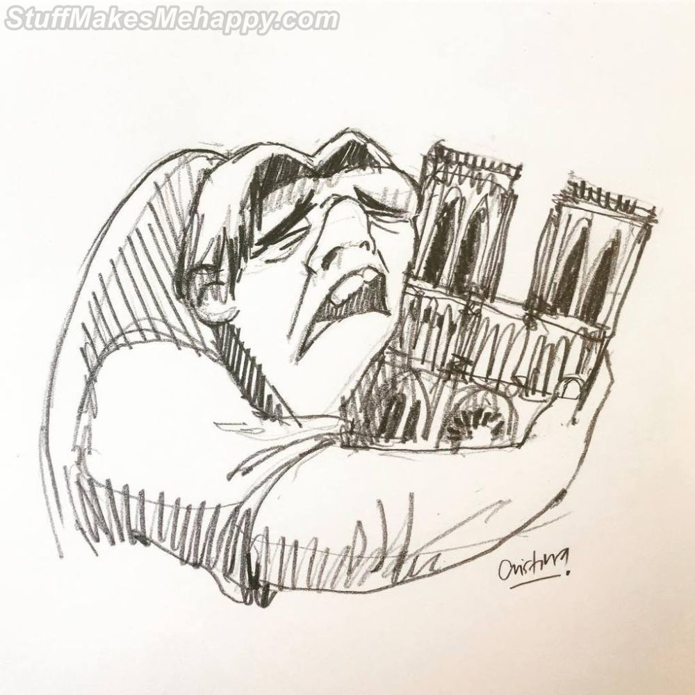 Illustrations That the Artists Dedicated To the Fire in Notre Dame de Paris