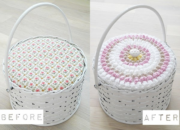 Upcycled vintage sewing basket with crochet top and new decorative handle