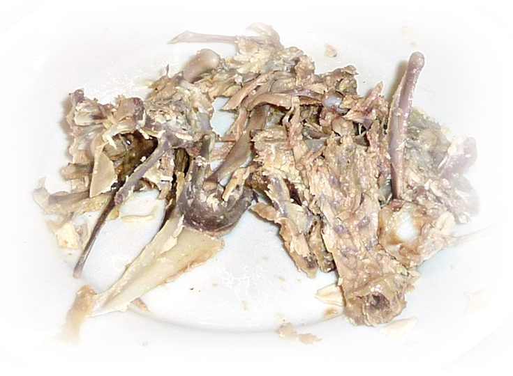 cleanly stripped chicken carcass - no waste