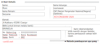 Kolom isian withdraw di marketglory