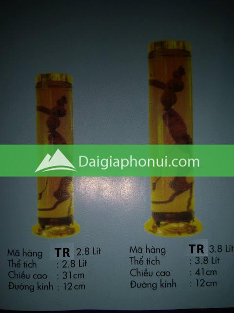 thông số bình ngâm rượu Phú Hoà mã số TR 2.8 & 3.8 LÍT