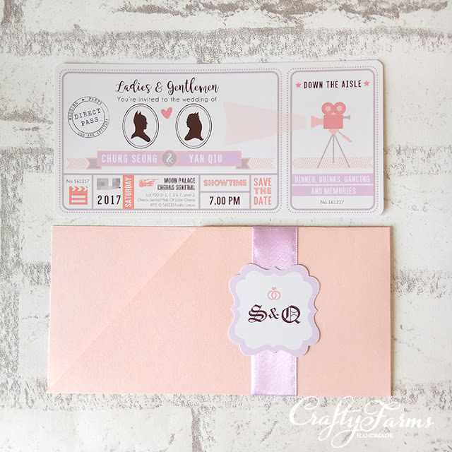 Pastel Movie Pass Themed Wedding Invitation Card