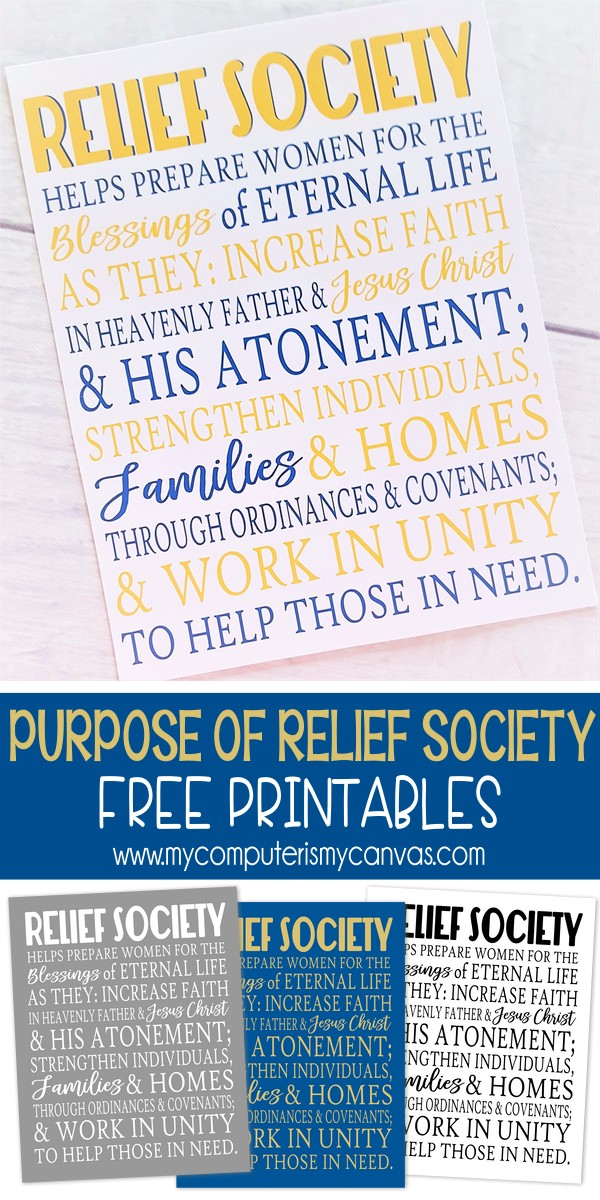Purpose of Relief Society - FREE Printable! - My Computer is My Canvas