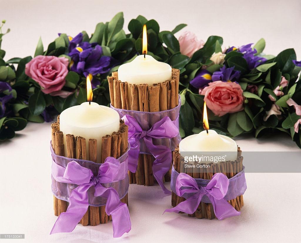 velas decoradas con canelas - Velas Decoradas