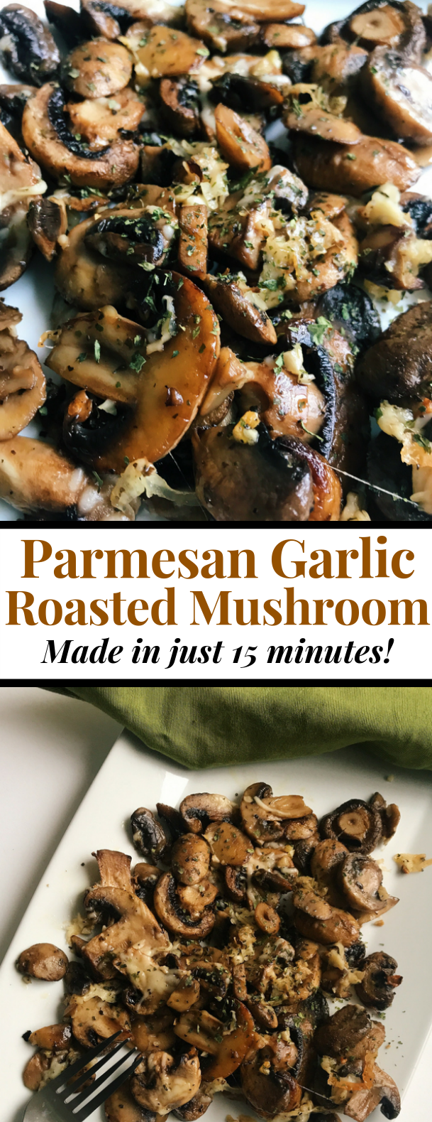 Parmesan Garlic Roasted Mushrooms #vegetarian #healthyrecipe