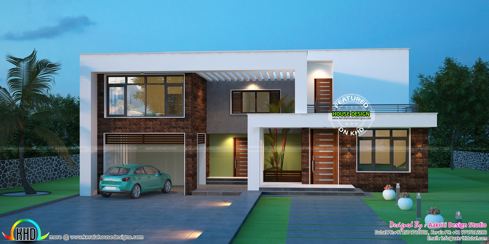 Modern flat roof contemporary kerala home design and Contemporary flat roof designs
