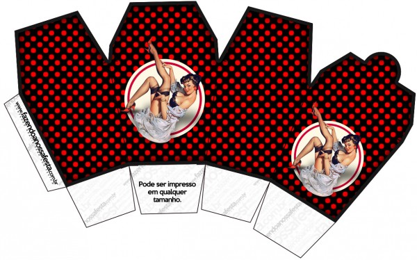 Pin Up in Black with Red Polka Dots Free Printable Chinese Take Away Box.