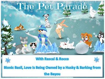 Winter scene on Pet Parade blog hop badge with cartoon dogs and cats