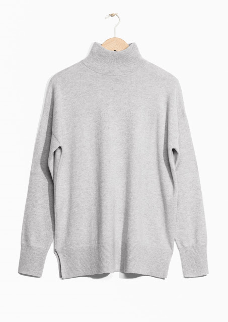 grey cashmere high neck jumper