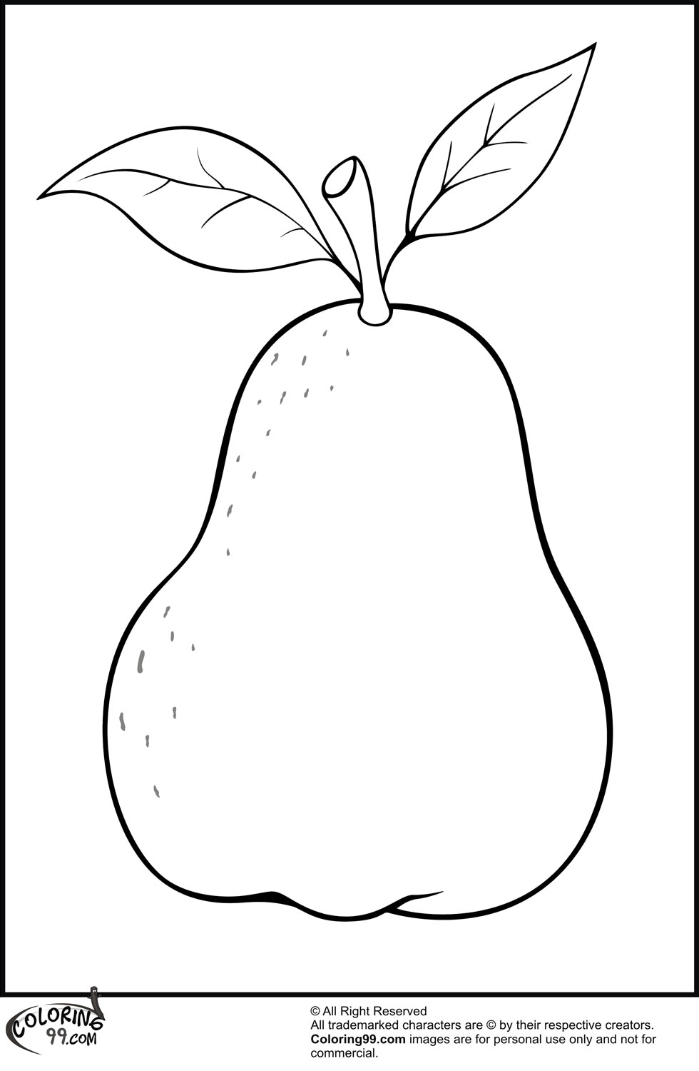 Single pear coloring pages
