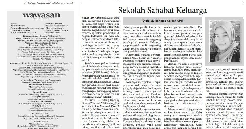 Artikel Quot Sekolah Sahabat Keluarga Quot Dimuat Koran Wawasan Sinau Bareng