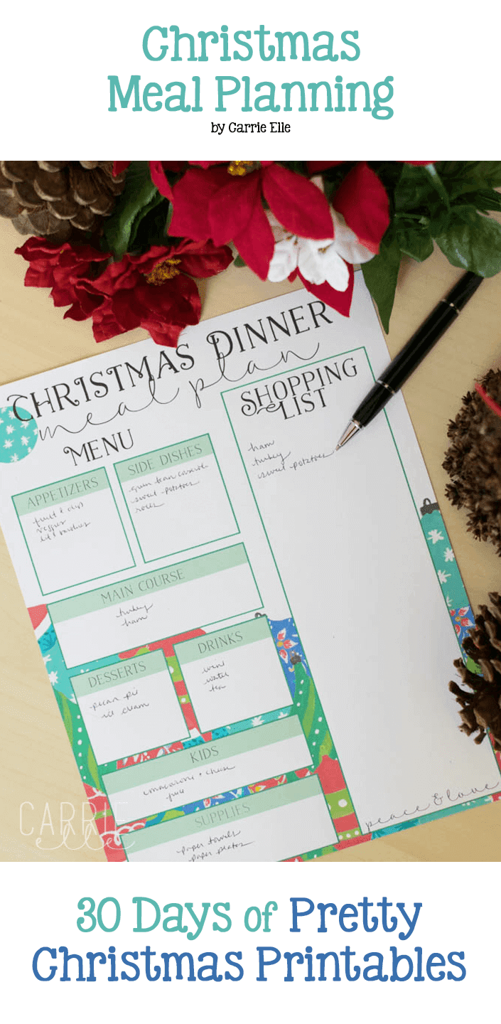 Free Christmas Meal Planning Template from Carrie Elle. 30 Days of Pretty Christmas Printables, Hosted by GradeONEderfulDesigns.com