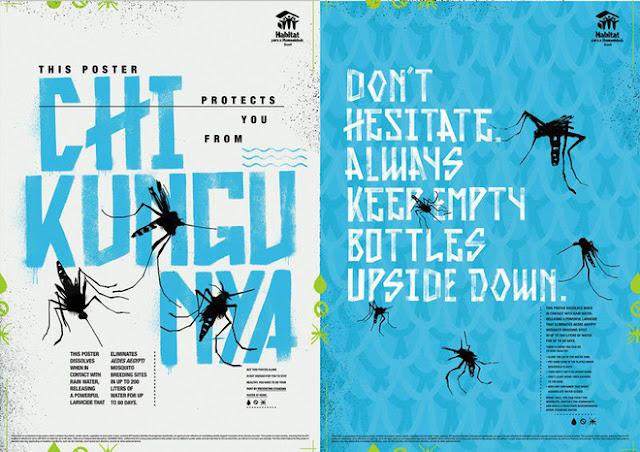Siêu sáng tạo: Poster tuyên truyền tan ra trong mưa để diệt trừ muỗi