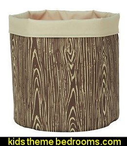 Reversible Canvas Floor Bin Round Woodgrain  treehouse theme bedrooms - backyard themed kids rooms - cat decor - dog decor - bugs and critters theme bedrooms - camping theme bedrooms - Happy Camper little boys outdoor theme bedroom