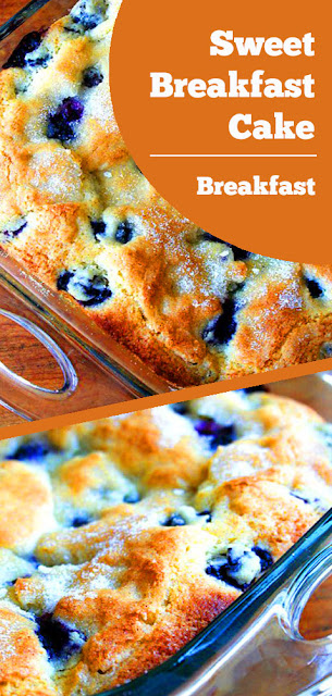 Sweet Breakfast Cake Recipe - This Sweet Blueberry Breakfast cake is a long-time family favorite. It's simple, adaptable, and make aheadable. #sweet #breakfast #cake #blueberry #sweetbreakfast