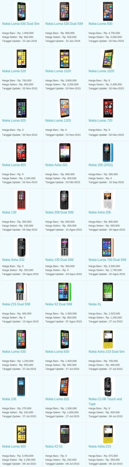 Daftar Harga Terbaru Hp Nokia April 2016
