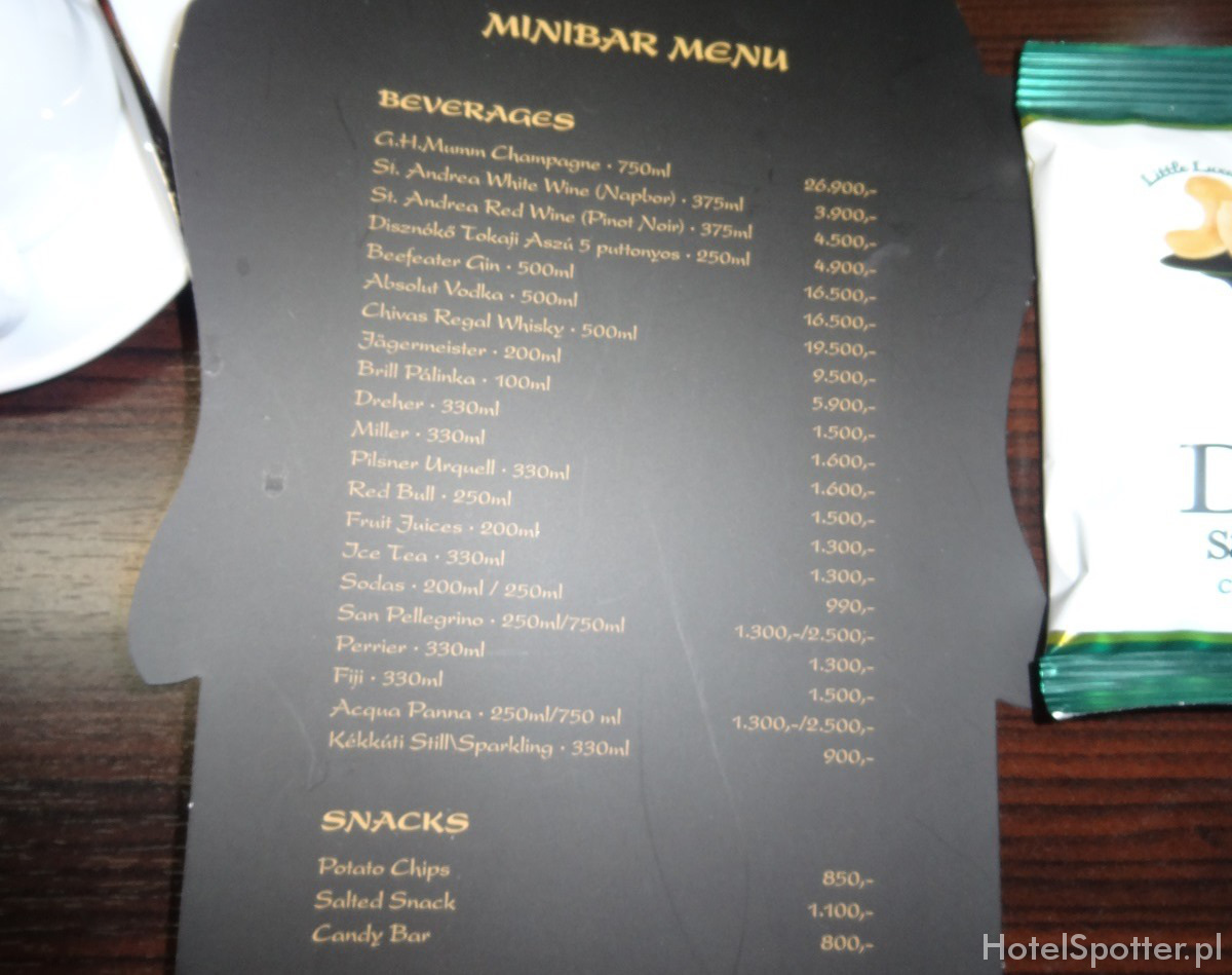 Buddha-Bar Hotel Budapest minibar menu prices