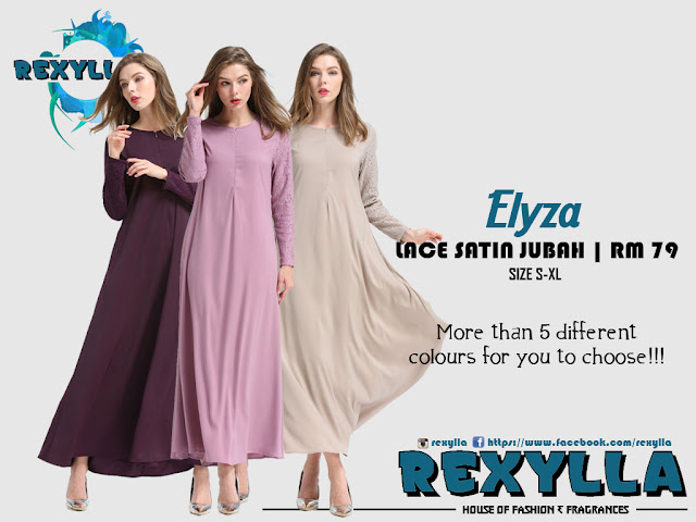 rexylla, lace satin, lace satin jubah, elyza collection