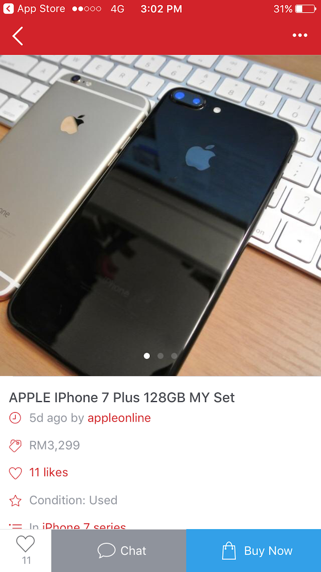 One of the seller selling a used iPhone 7 Plus 128 GB at a rather good pricing