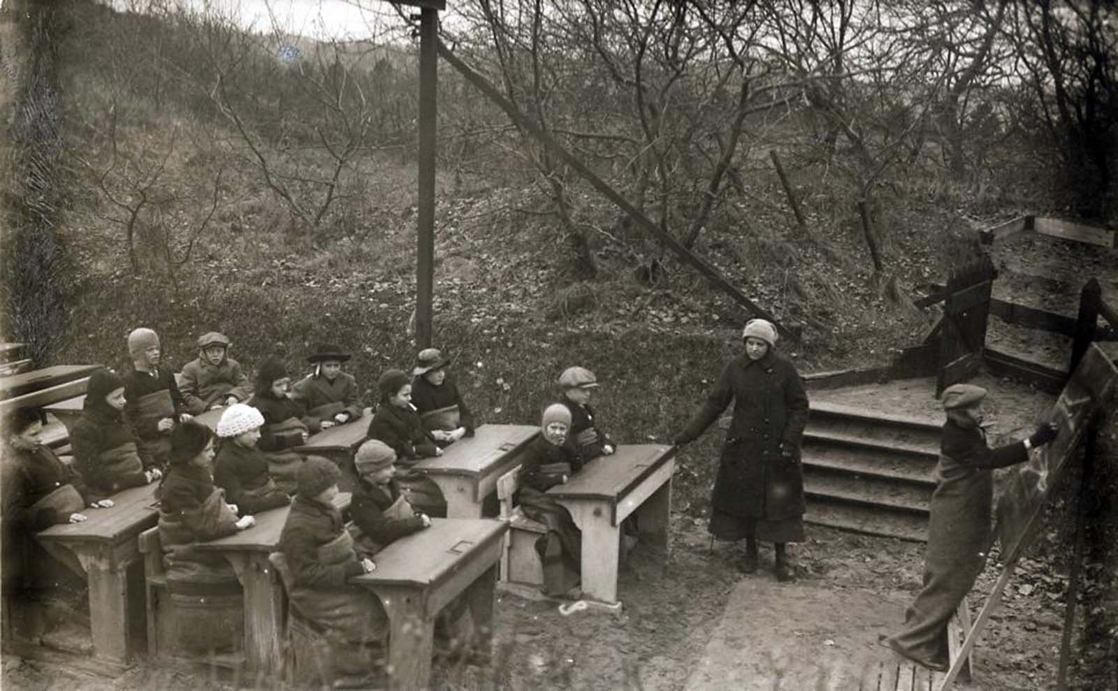 In the early 20th century, open air schools became fairly common in Northern Europe, originally designed to prevent and combat the widespread rise of tuberculosis.