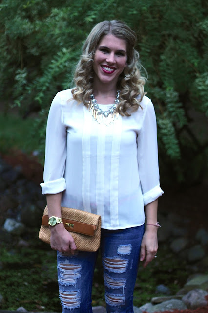 white blouse, distressed jeans, floral wedges, statement necklace