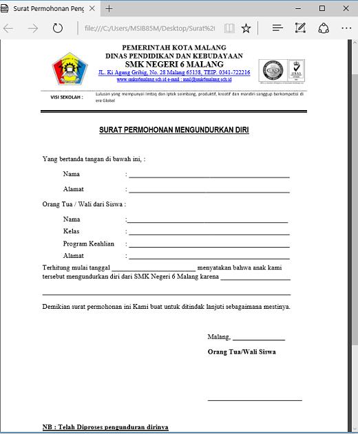 contoh surat permohonan pengunduran diri siswa word