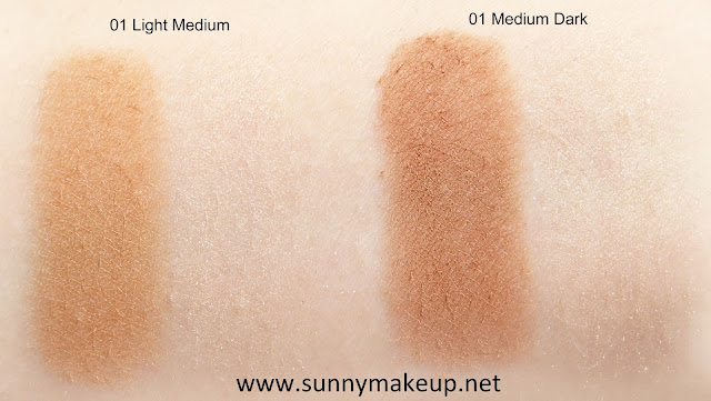Swatch Maybelline - Easy Contouring. Master Sculpt: 01 Light Medium, 02 Medium Dark.