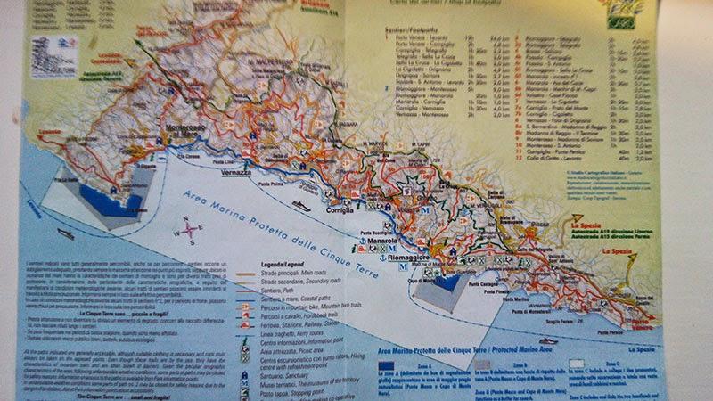 cinque terre mapa costa guia portugues italia - Cinque Terre com guia de turismo em português