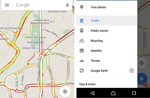 Cara memantau kemacetan di jalan raya melalui Google Maps.