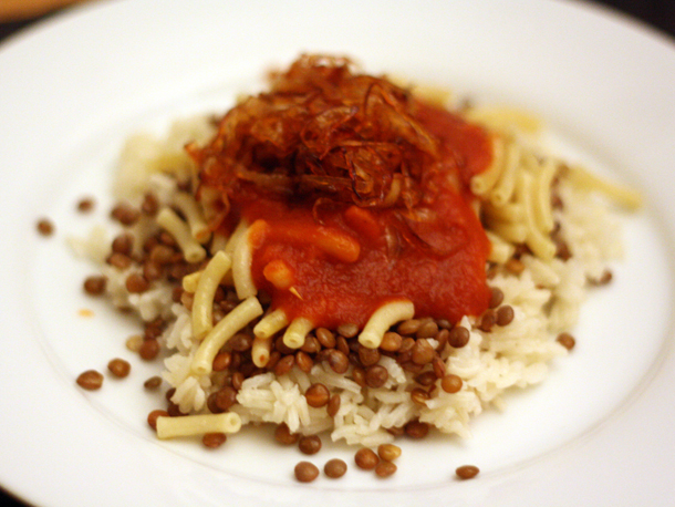Dinner Tonight: Koshary (Rice, Lentils, and Pasta with Tomato Garlic Sauce)