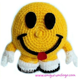 yellow crochet happy face doll