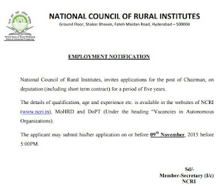 Applications are invited for Chairman vacancy in National Council of Rural Institute (NCRI) Telangana