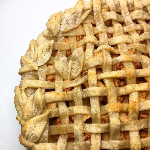 Close Up of Apple Pie with Lattice Crust