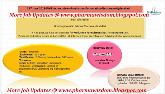 Sri Krishna Pharmaceuticals Ltd - Walk-In Interviews for Production - Granulation on 23rd June, 2018 @ Hyderabad