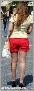 Girl in red shorts