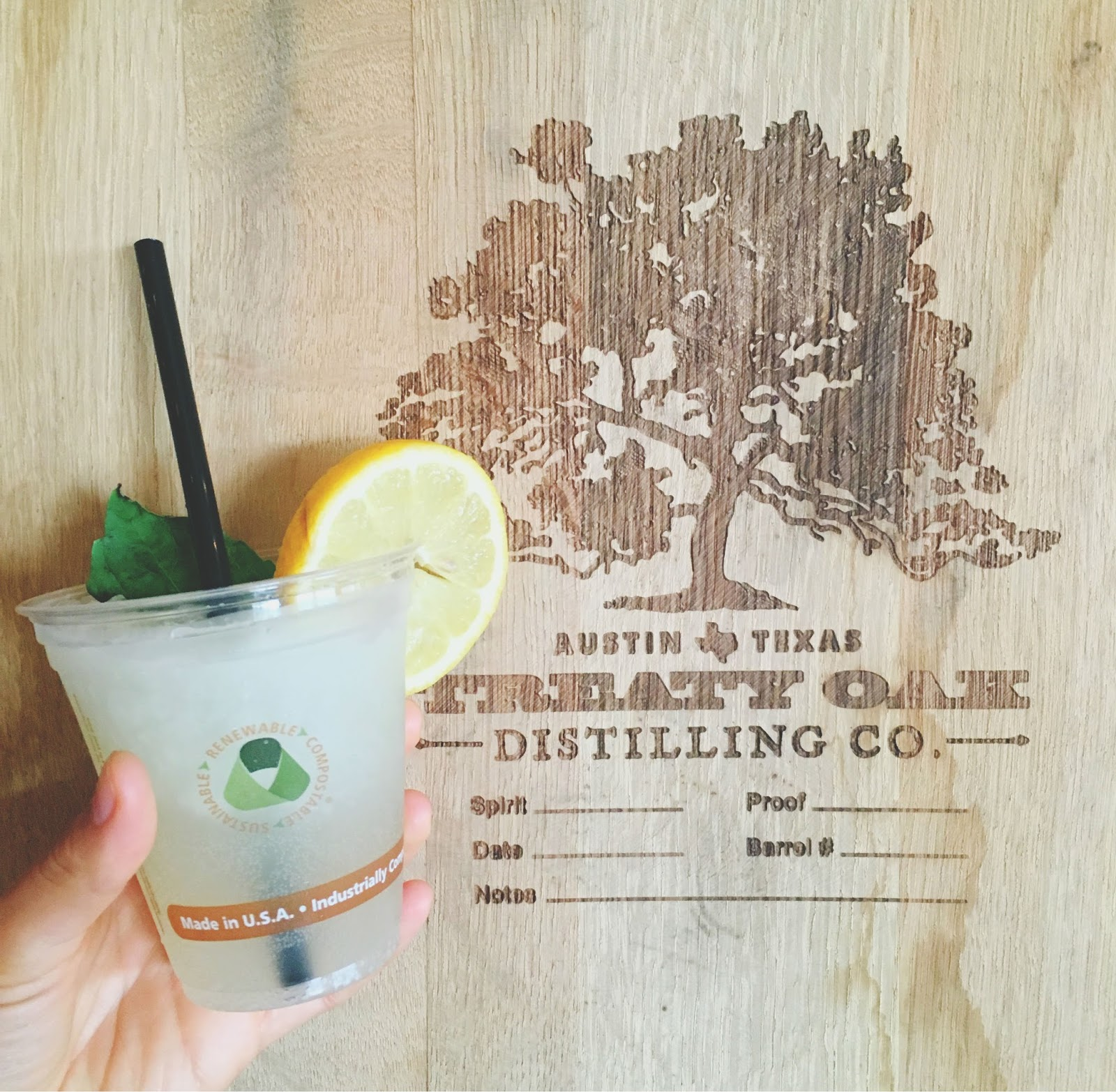 Southpaw cocktail at Treaty Oak Distilling near Austin, Texas