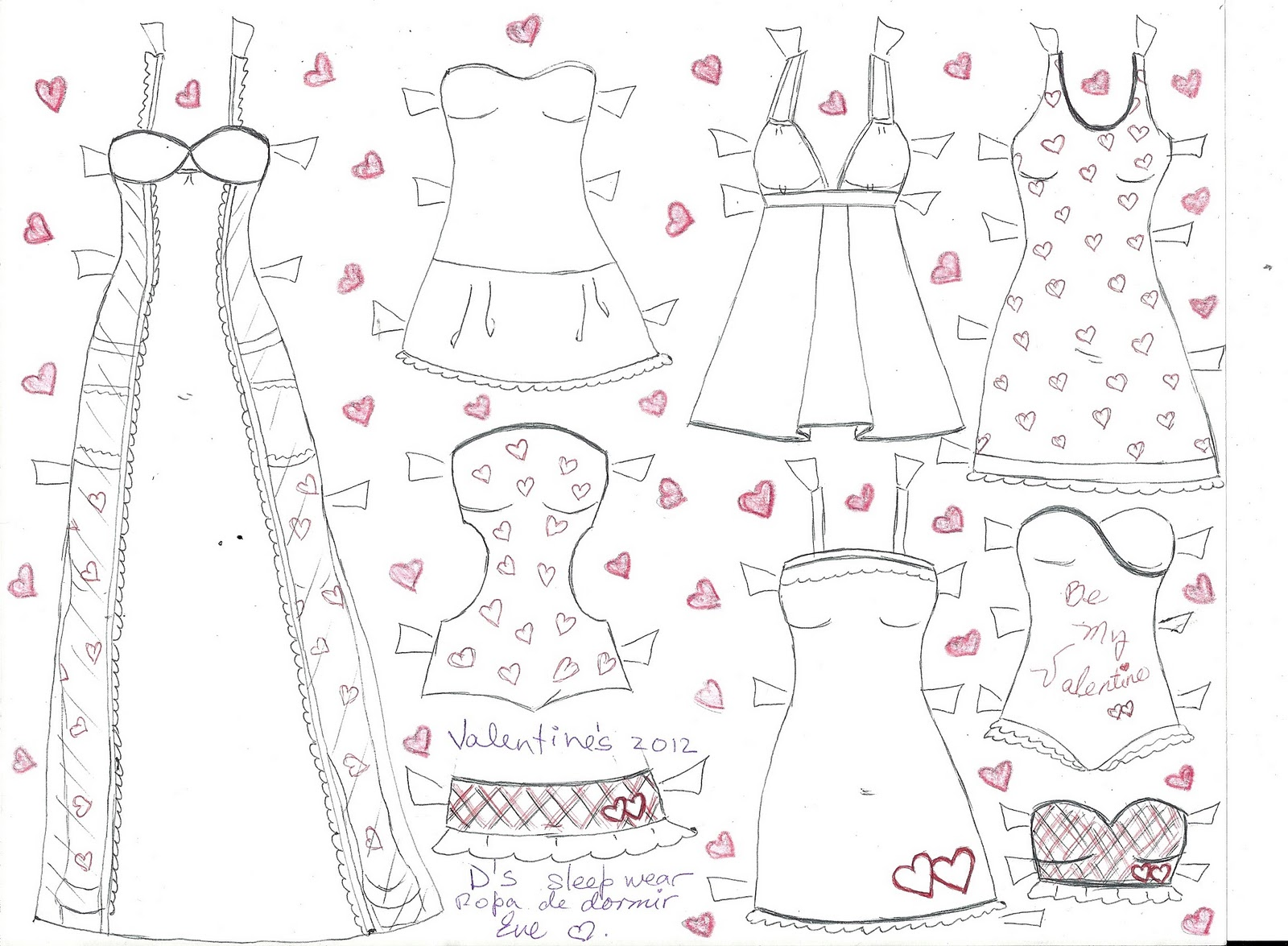 Paper Doll Eve D S Valentines Sleep Wear Ropa De Dormir