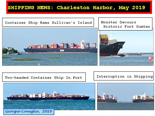 News simulation; cargo ships; Sullivan's Island; South Carolina; Giorgio Coniglio