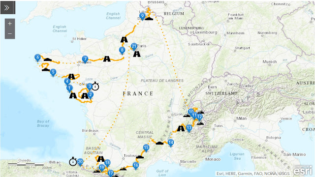 Map of France and the Tour de France