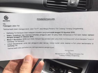 Mulai 1 november Gerbang Tol Senayang tidak menerima pembayaran Cash.
