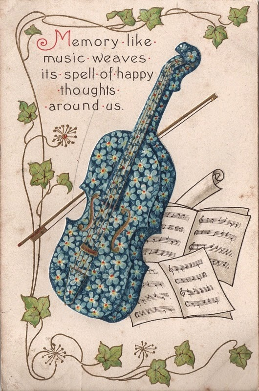 vintage postcard with flower painted violin