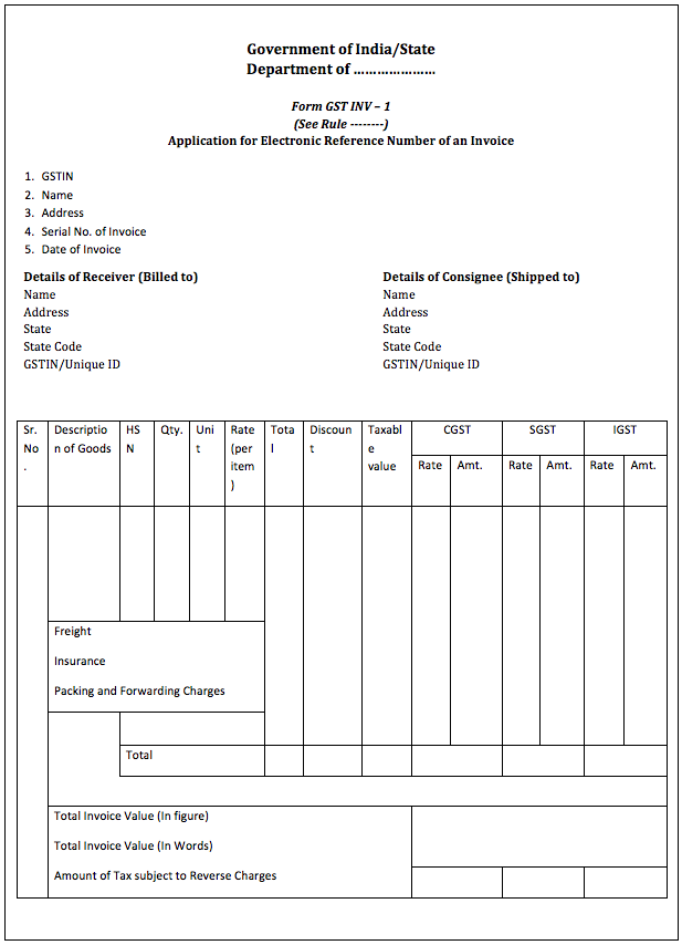 gst sample invoice bill taxation format returns