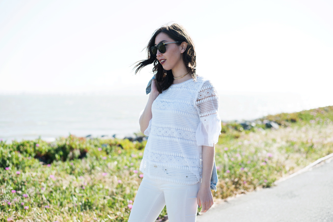 ReadyTwoWear: Lace ruffle sleeve top