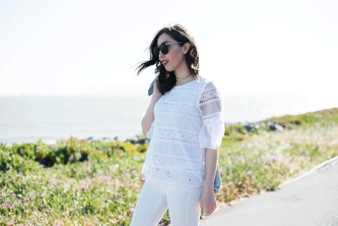 ReadyTwoWear: Lace ruffle sleeve top
