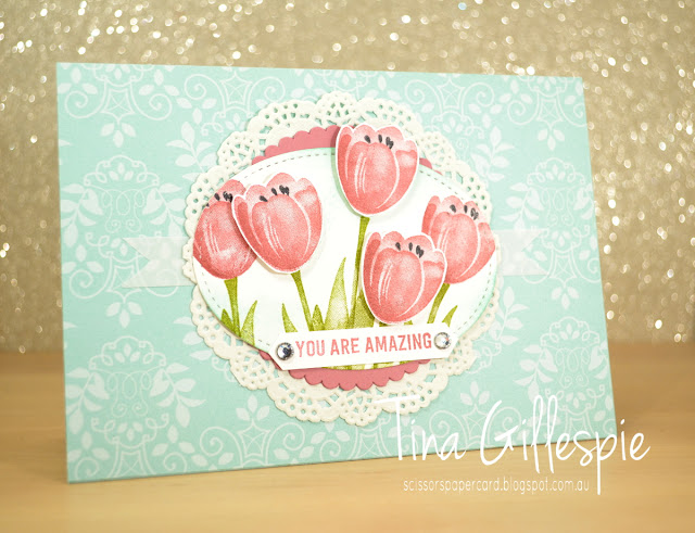 scissorspapercard, Stampin' Up!, CASEing The Catty, Petal Garden DSP, Tranquil Tulips, Thoughtful Banners