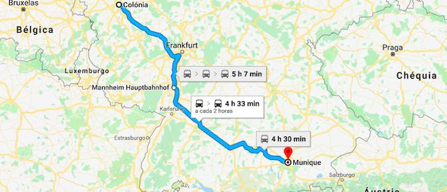 Mapa da viagem de trem de Colônia até Munique
