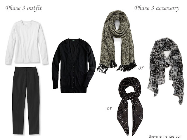 3 scarf choices to wear with a black and white outfit
