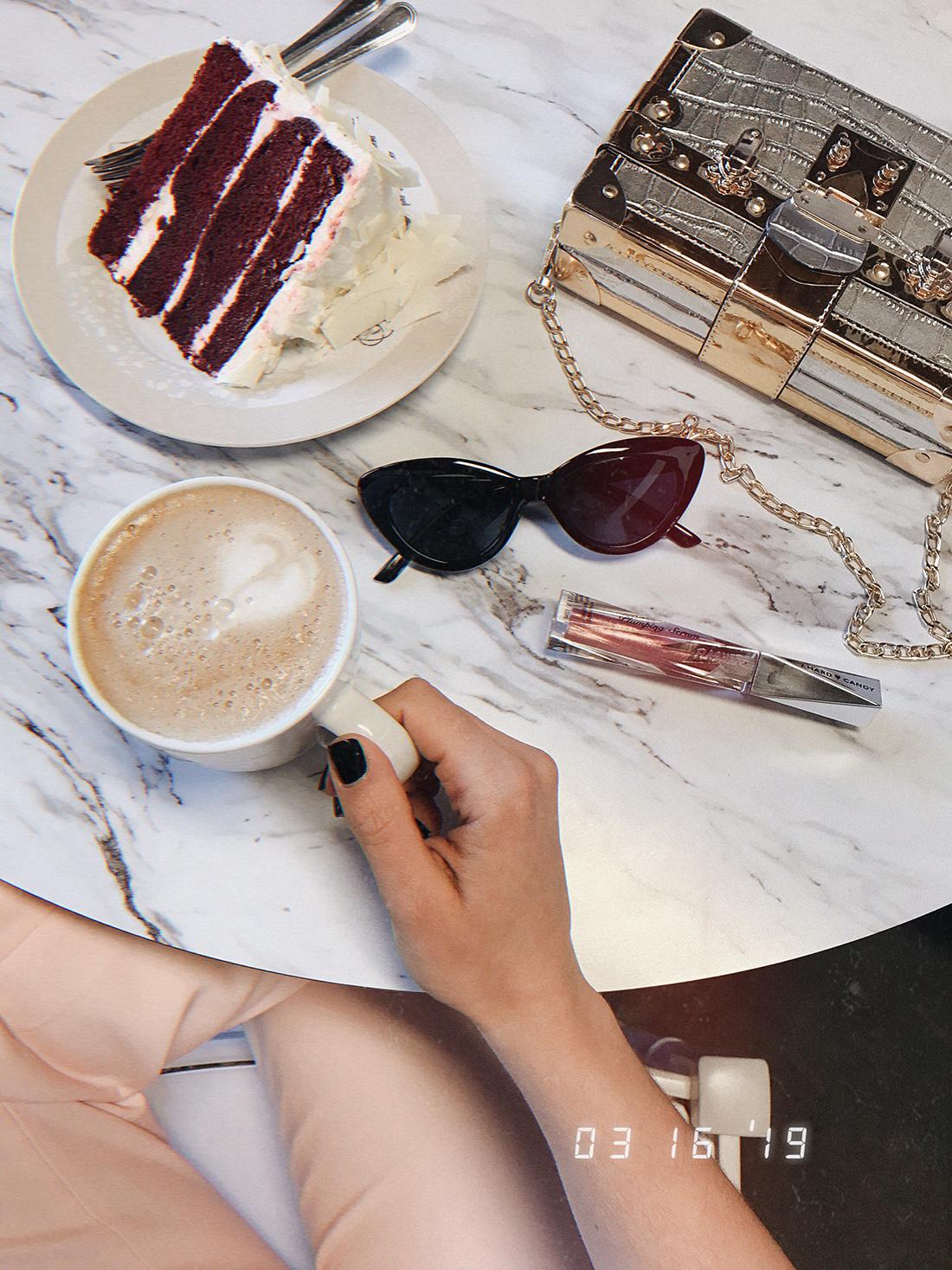 Coffee break wearing Lovers + Friends pants via REVOLVE