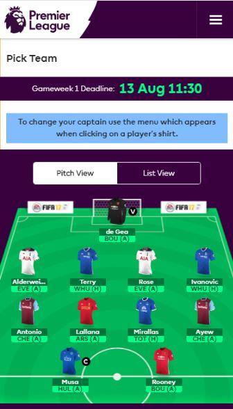 Select Squad - Fantasy Premier League
