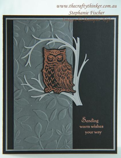 #thecraftythinker  #stampinup  #cardmaking  #masculinecard  #stillnight  #rubberstamping #owlcard , Still Night, Masculine card, Owl, Stampin' Up Australia Demonstrator, Stephanie Fischer, Sydney NSW